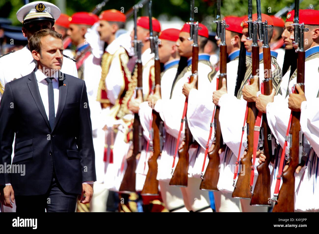 Athens, Greece. 7th Sep, 2017. Greek President Prokopis Pavlopoulos, left, and his French counterpart Emmanuel Macron, review the Presidential Guard in Athens. Macron arrived in Greece Thursday for a two-day visit during which he was expected to outline his vision for the future of the European Union and discuss Greece's financial crisis Credit: Aristidis Vafeiadakis/ZUMA Wire/Alamy Live News - Stock Image