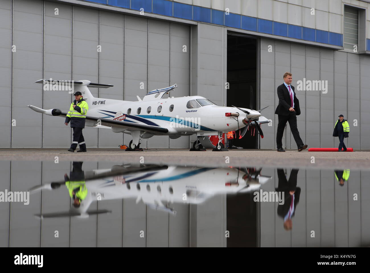 Moscow, Russia. 7th Sep, 2017. A Pilatus PC-12 single-engine turboprop passenger and cargo aircraft manufactured by Pilatus Aircraft on display at the 2017 Jet Expo International Business Aviation Show at the Vnukovo-3 Business Aviation Center. Credit: Marina Lystseva/TASS/Alamy Live News - Stock Image