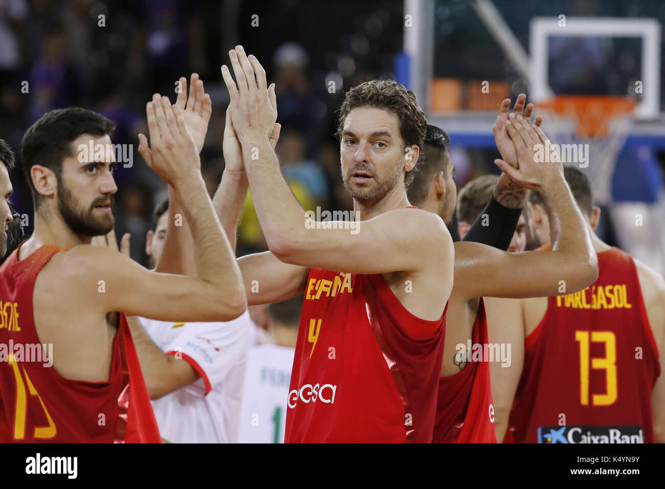 d049c30e680 Spanish National basketball team players Pau Gasol (C) and Joan Sastre (L)  at the end of the Eurobasket 2017 match between Spain and Hungary, in Cluj,  ...