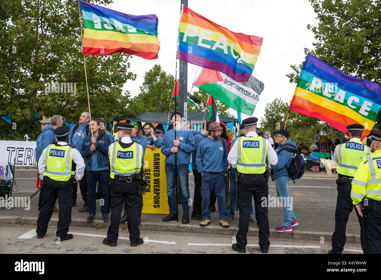 London, UK. 7th Sep, 2017. Veterans for Peace protest outside the ExCel Centre against the DSEI arms fair to be Stock Photo
