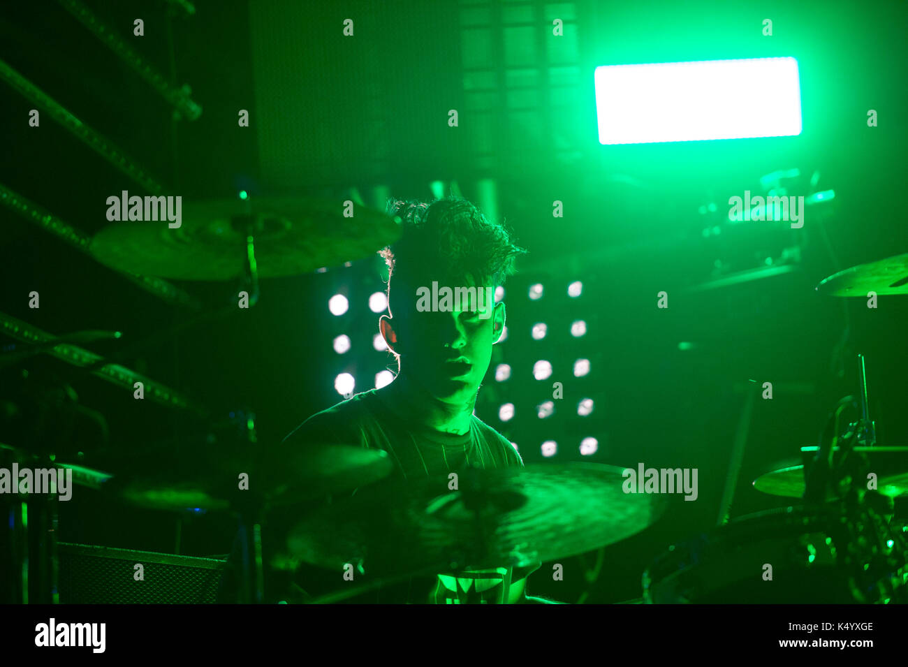 06 Sep 2017 - The Kolors  on stage  at ARENA 45  @ 45°NORD Entertainment Center, Moncalieri, Turin, with their 'The Kolors Live 2017' - Stock Image