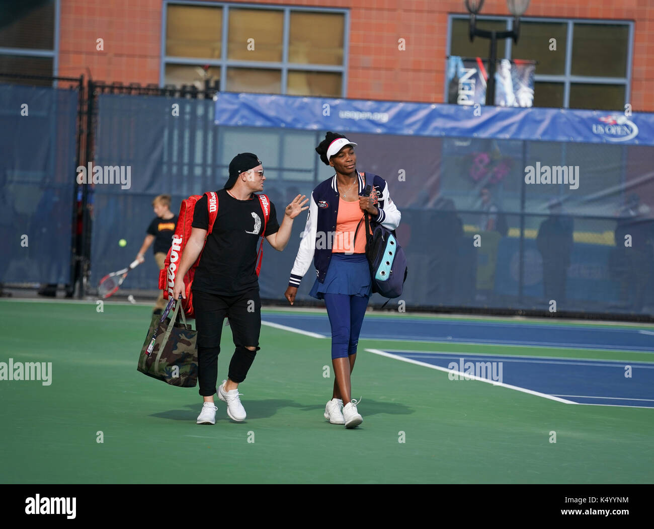 New York, United States. 07th Sep, 2017. New York, NY USA - September 7, 2017: Venus Williams of USA practices at Stock Photo