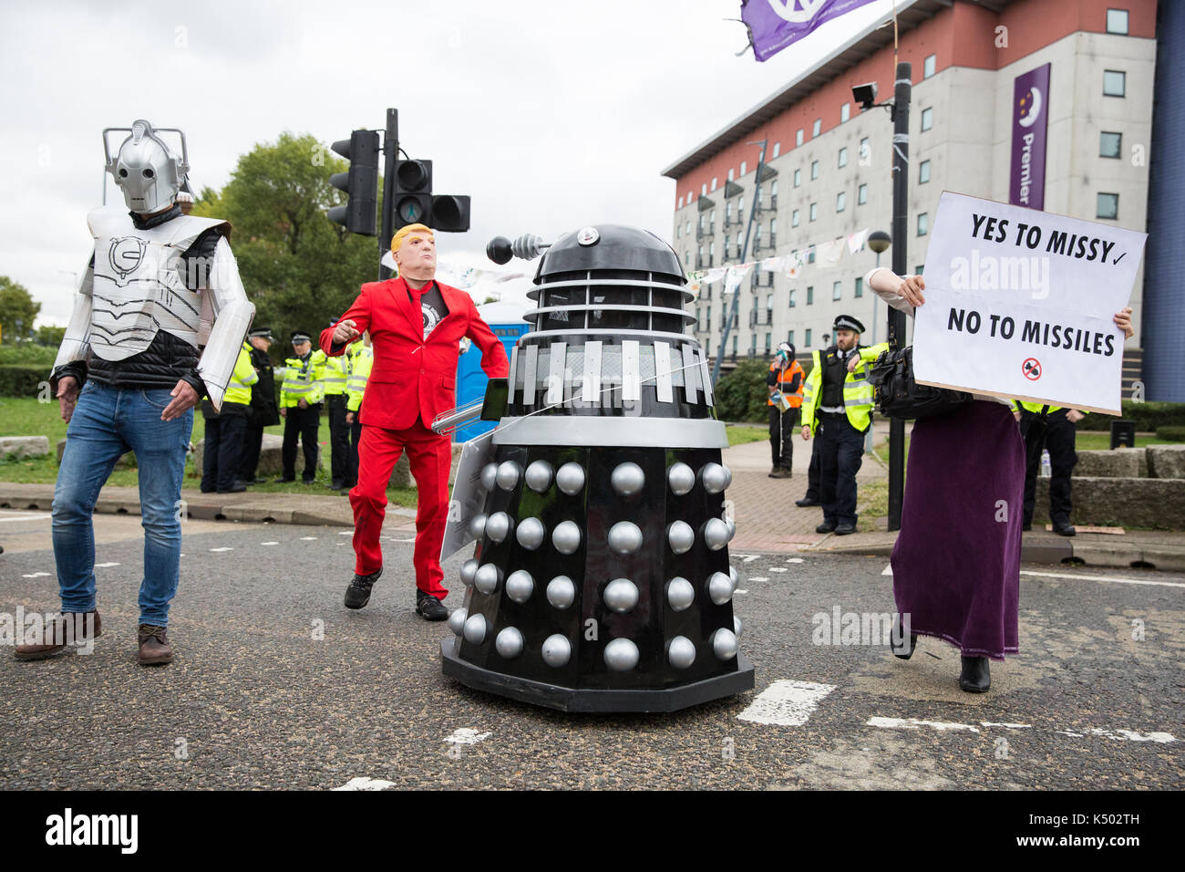 London, UK. 8th Sep, 2017. Daleks and other super villains protest against the DSEI arms fair to be held at the ExCel Centre next week. DSEI is one of the world's largest arms fairs and military delegations from states believed to be responsible for widespread abuses of human rights are expected to attend. Credit: Mark Kerrison/Alamy Live News - Stock Image