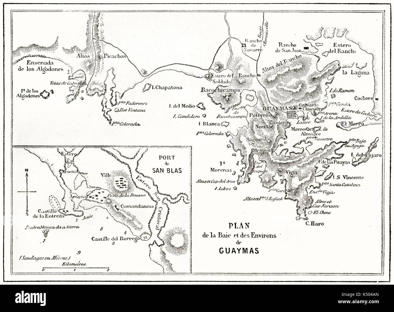 Ancient Topographic Map Of Guaymas Bay Mexico By Unidentified