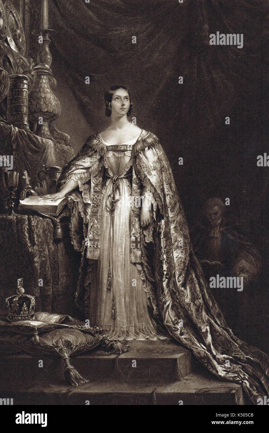 Queen Victoria taking oath of allegiance - Stock Image