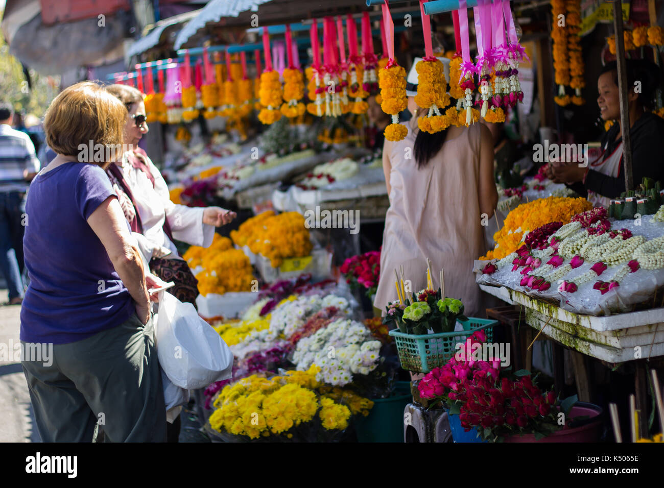 Chiang Mai, Thailand - Feb 2, 2014: Tourist shop flower at market in Chiang Mai - Stock Image