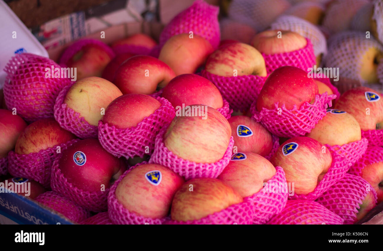 Chiang Mai, Thailand - Feb 2, 2014: Red apples sell at fruit store in Chiang Mai - Stock Image