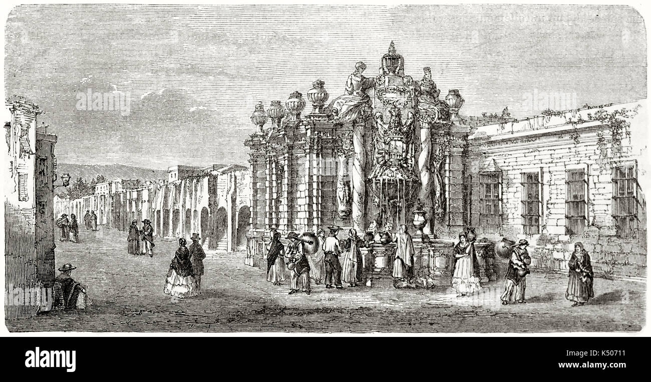 Ancient south american people taking water in a stone fountain richly decorated. Salto del Agua font Mexico city. Created by Catenacci after photo of Charnay published on Le Tour du Monde Paris 1862 - Stock Image