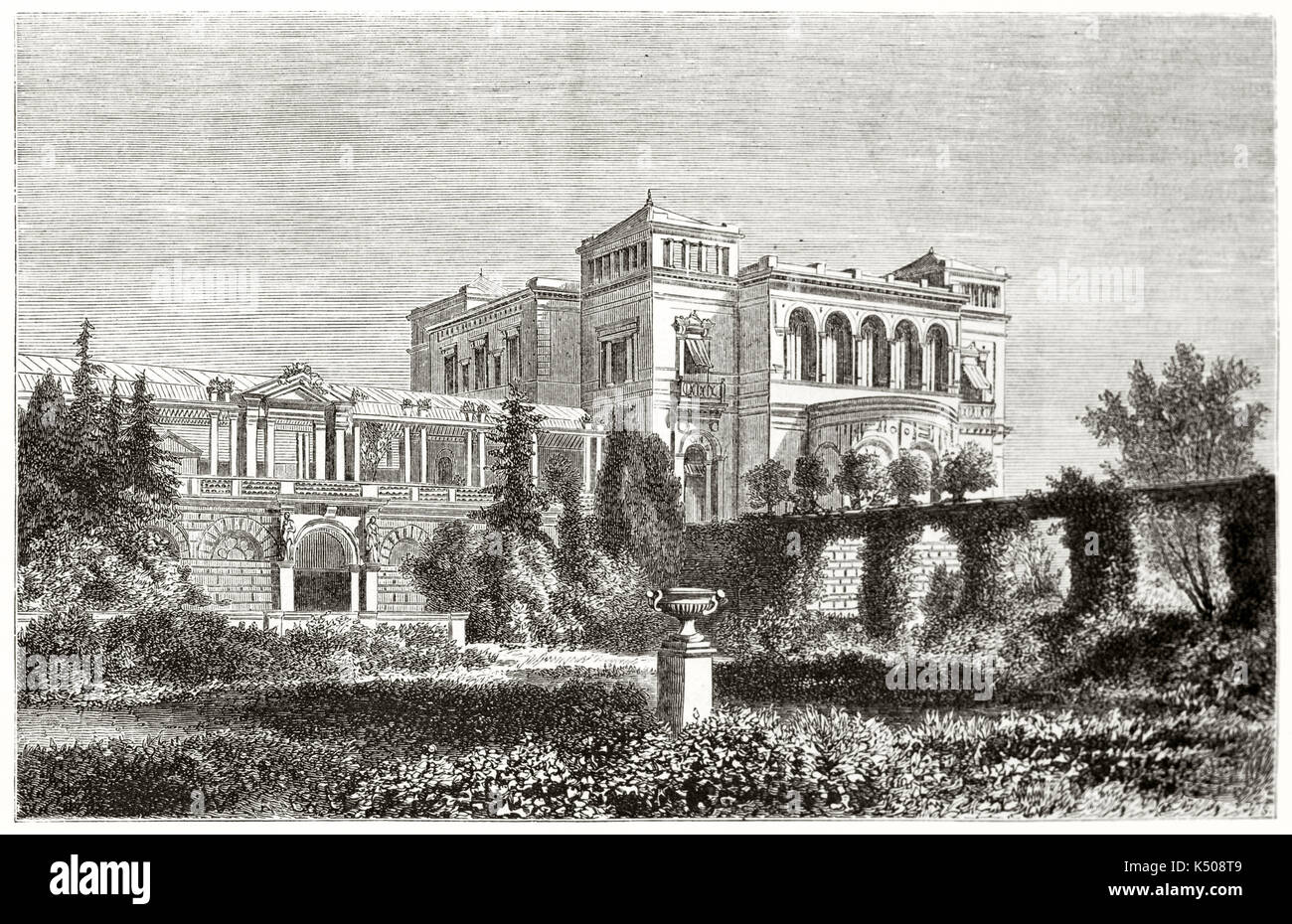 Magnificent ancient view on Villa Berg, edifice surrounded by luxuriant garden and summer home of Crown Prince Karl Stuttgart surroundings Germany. By Lancelot published on Le Tour du Monde Paris 1862 - Stock Image