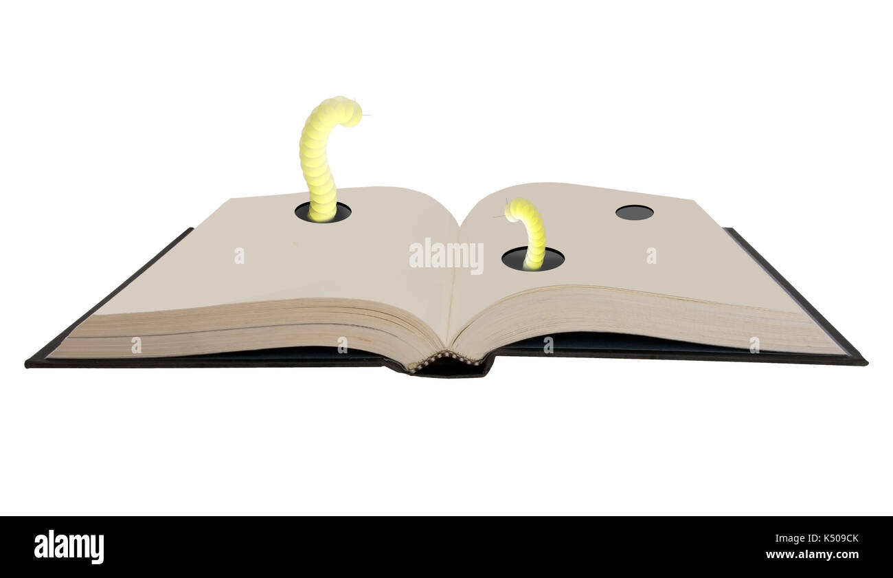 Book loving bookworms. Hardback old book. Cute worms. Stock Photo
