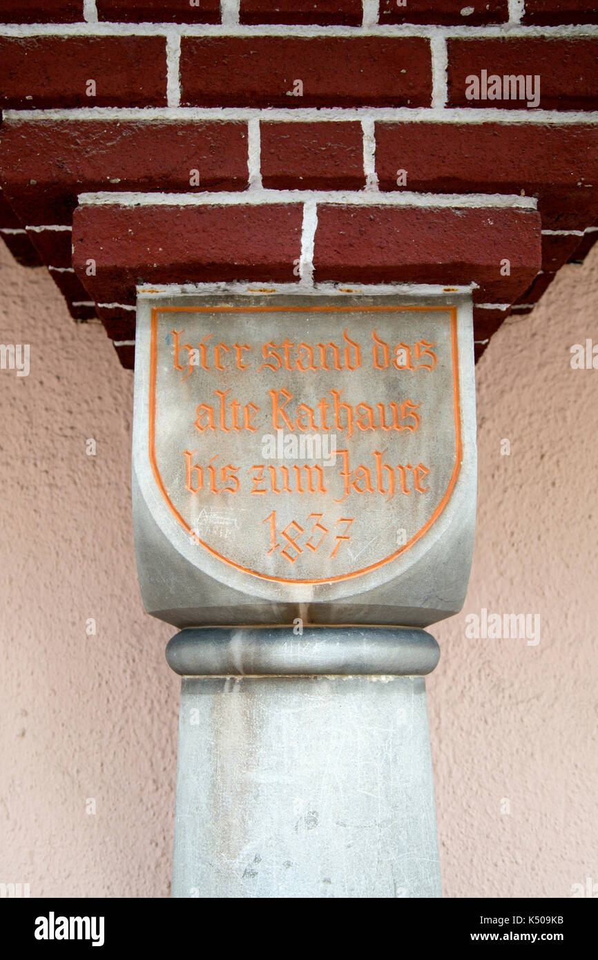 A pillar depicting the site of the old town hall (Rathaus) in Fussen, Bavaria, Germany. - Stock Image