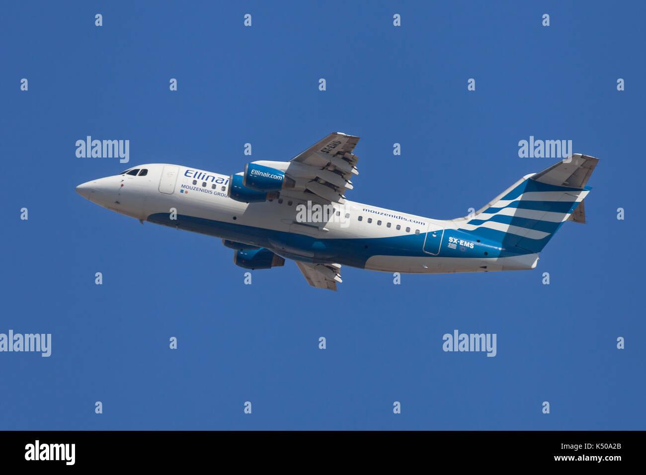 Barcelona, Spain - August 7, 2017: Ellinair British Aerospace Avro RJ85 taking off from El Prat Airport in Barcelona, Spain. - Stock Image