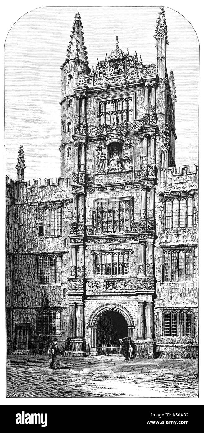 1870: The Schools Quadrangle, built 1613-24, is now the entrance to the Bodleian Library,  the main research library of the University of Oxford, and is one of the oldest libraries in Europe. With over 12 million items,  it is the second-largest library in Britain after the British Library. Under the Legal Deposit Libraries Act 2003 it is one of six legal deposit libraries for works published in the United Kingdom, Oxford, England - Stock Image