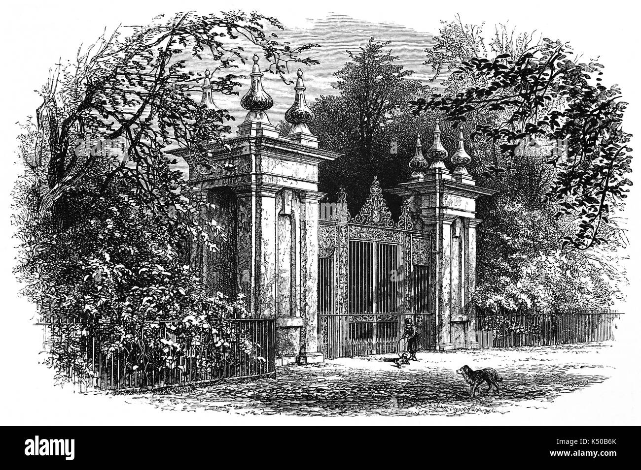 1870: The gateway to Trinity College, possibly  dates to the 1680s when formal parts of the garden were laid out, Oxford University, England - Stock Image