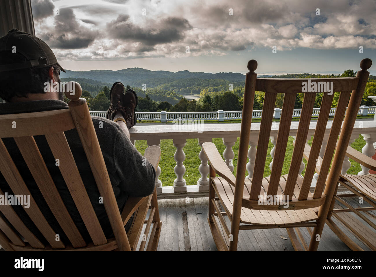 Feet Up Relaxing Rocking Chair Front Porch Amazing View Clouds