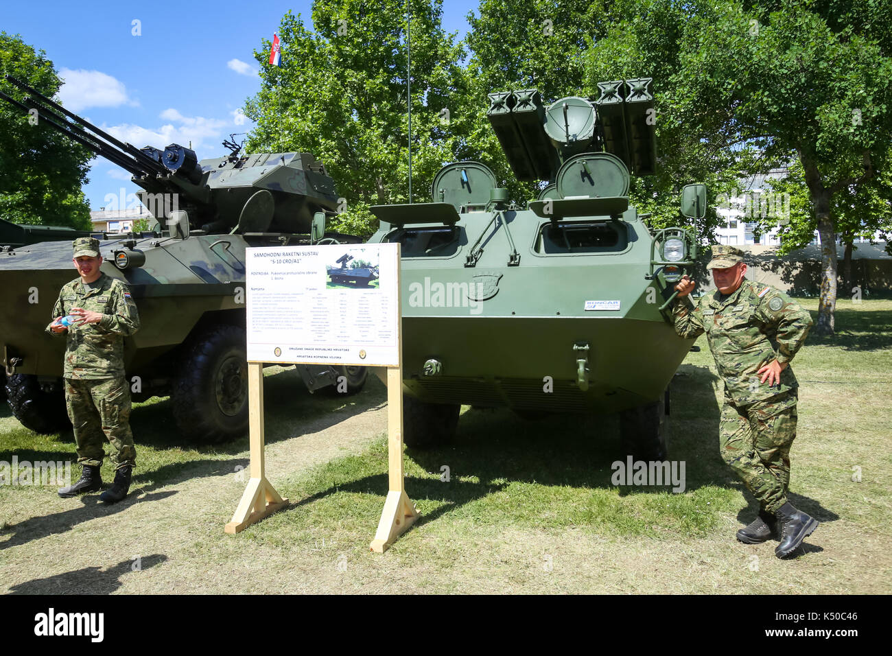 ZAGREB, CROATIA - MAY 28, 2017 : The soldiers stand by rocket launcher vehicle Strijela 10CROA1 at the 26th anniversary of the formation of the Croati - Stock Image