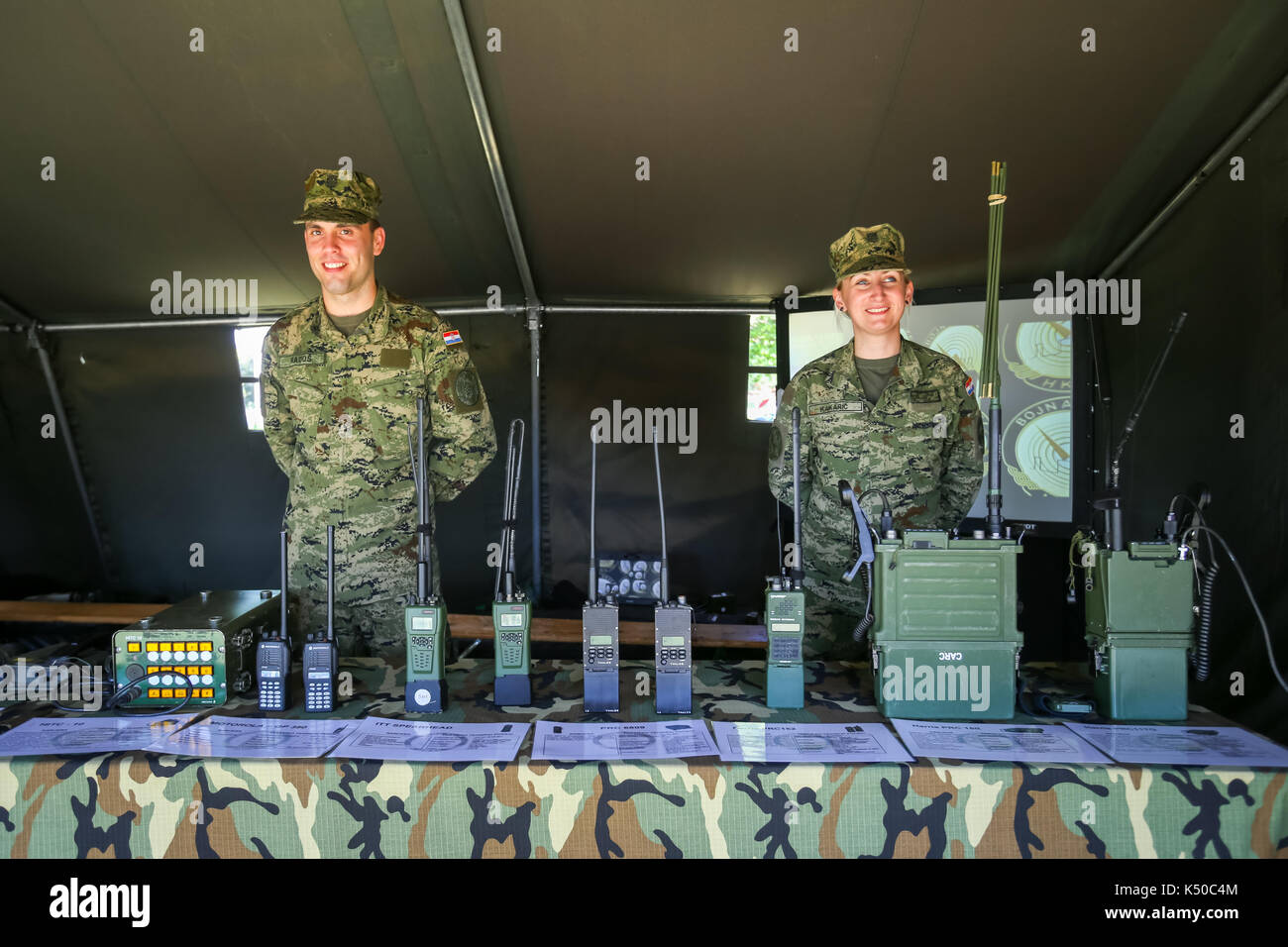 ZAGREB, CROATIA - MAY 28, 2017 : Soldiers with lined up radio Stock