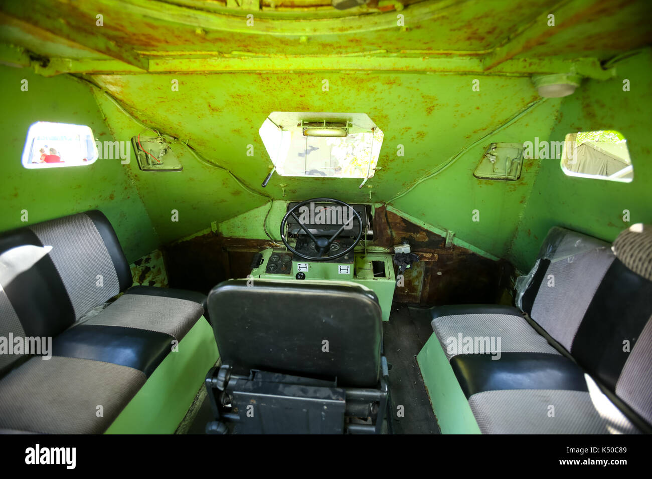 ZAGREB, CROATIA - MAY 28, 2017 : Croatian engineering anti terrorist vehicle from inside exposed on the 26th anniversary of the formation of the Croat - Stock Image
