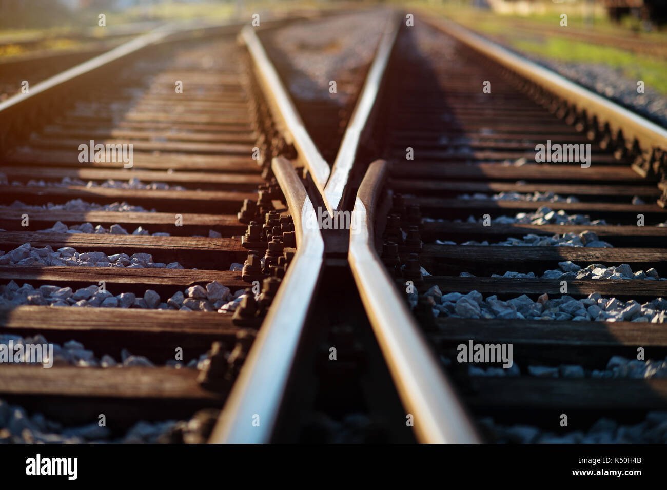Railway crossroads. Choosing right way, making decision concept. - Stock Image