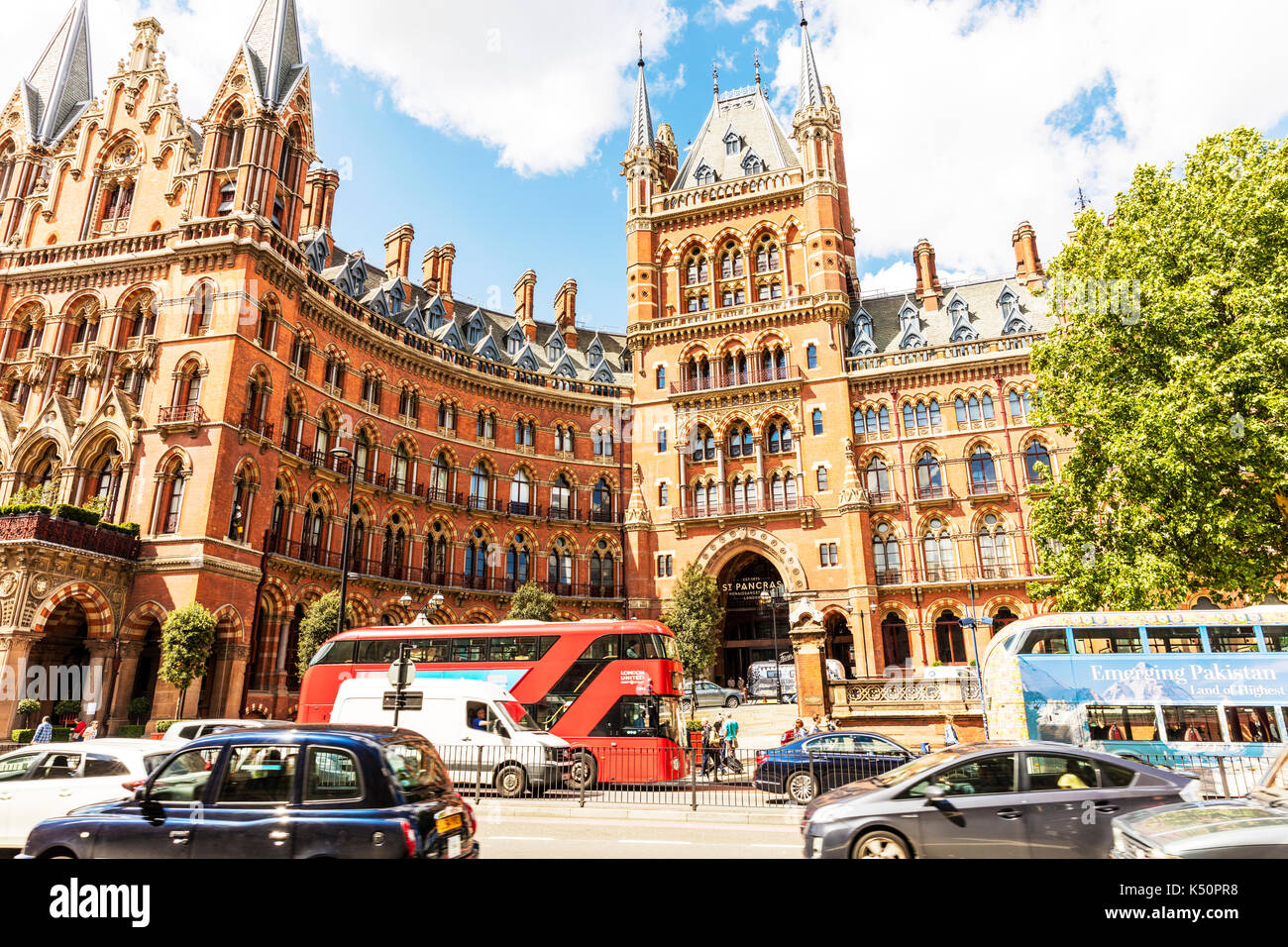 St. Pancras Renaissance London Hotel (formerly St Pancras Midland Grand hotel) Euston Road London UK England, St Pancras hotel London, London hotels - Stock Image
