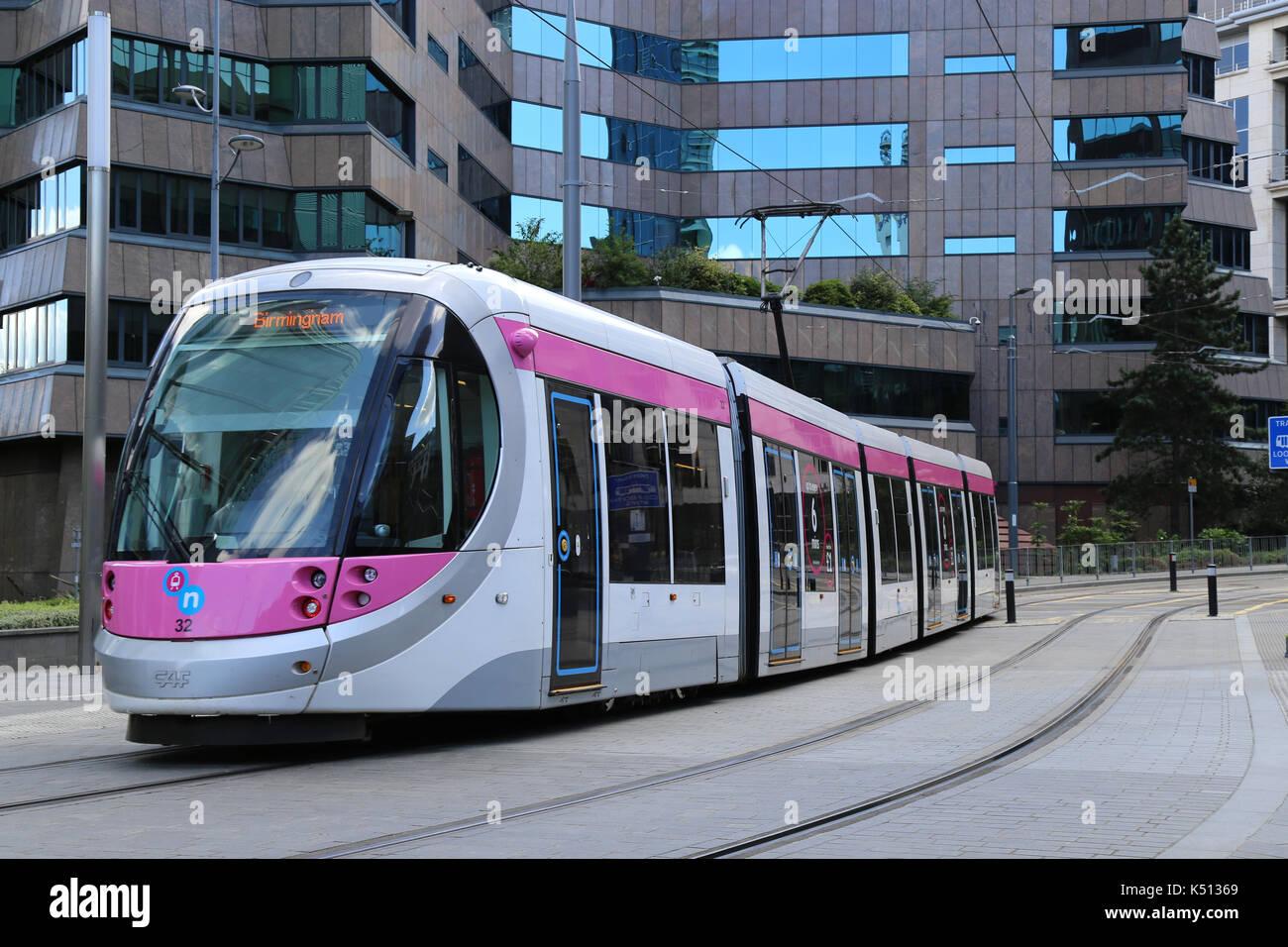 Midland Metro tram service arriving in Birmingham city centre, West Midlands, UK. - Stock Image