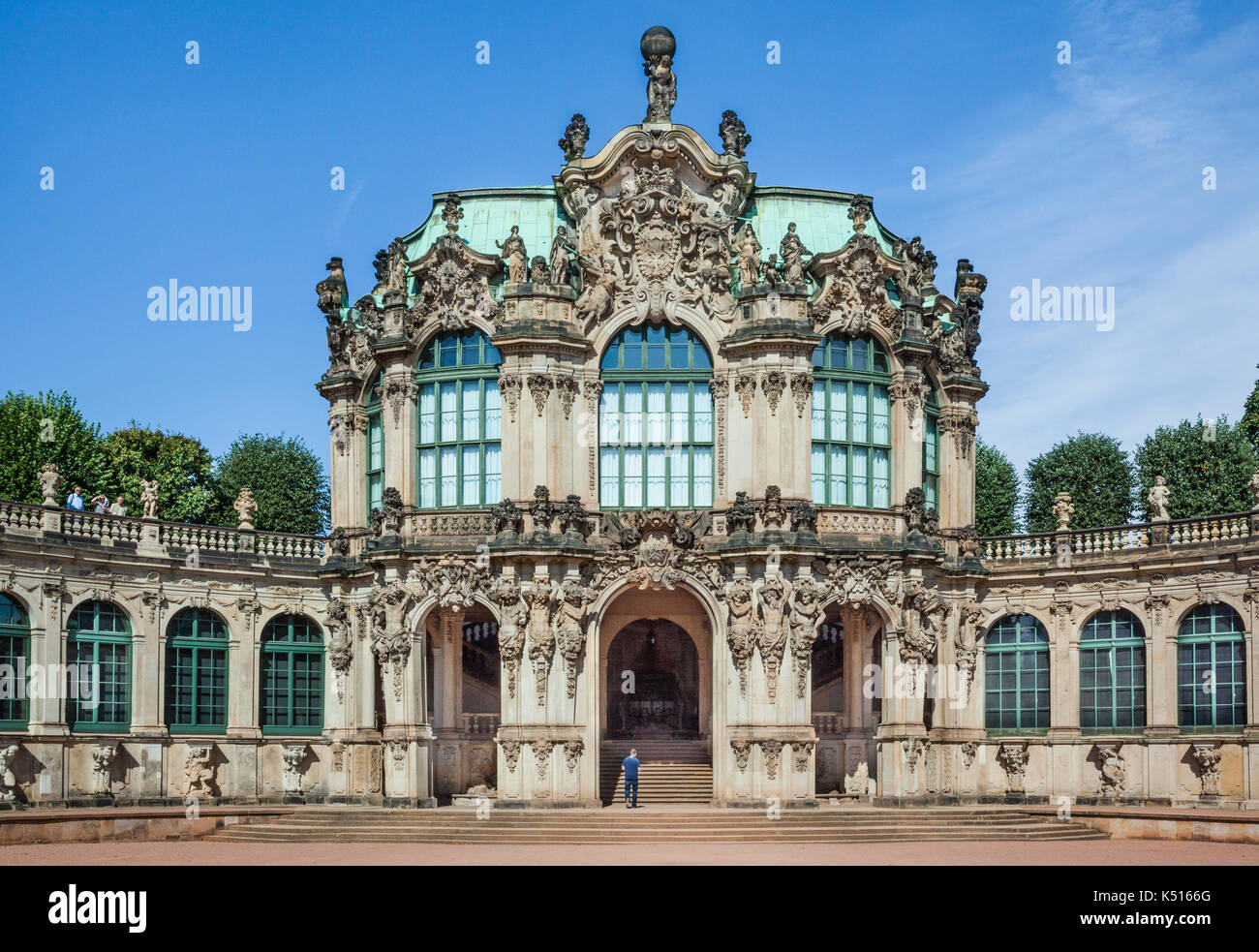 Germany, Saxony, Dresdener Zwinger, view of the Wall Pavillion - Stock Image