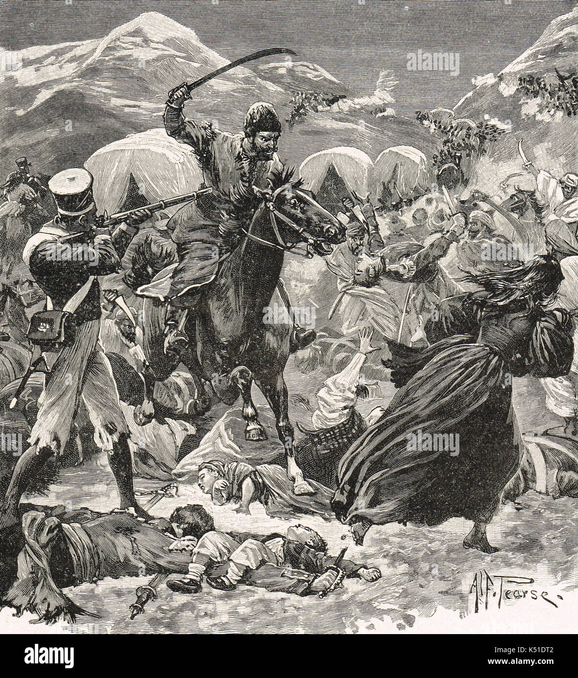 The retreat from Kabul in 1842 - Stock Image