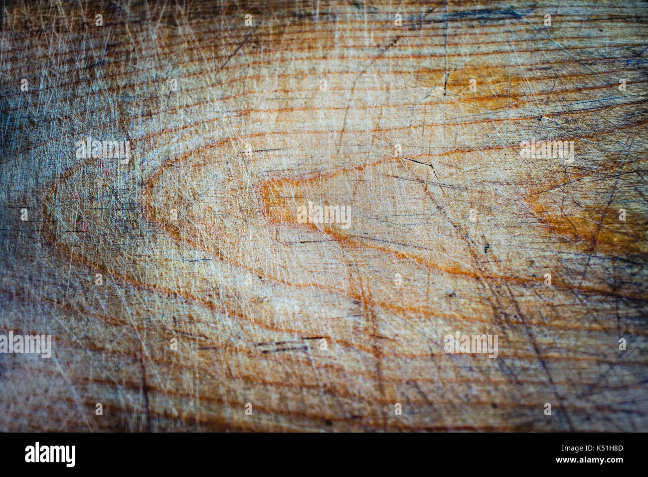 old wooden board damage and scratches close-up - Stock Image