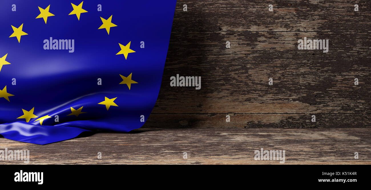European Union flag on a wooden background. 3d illustration - Stock Image