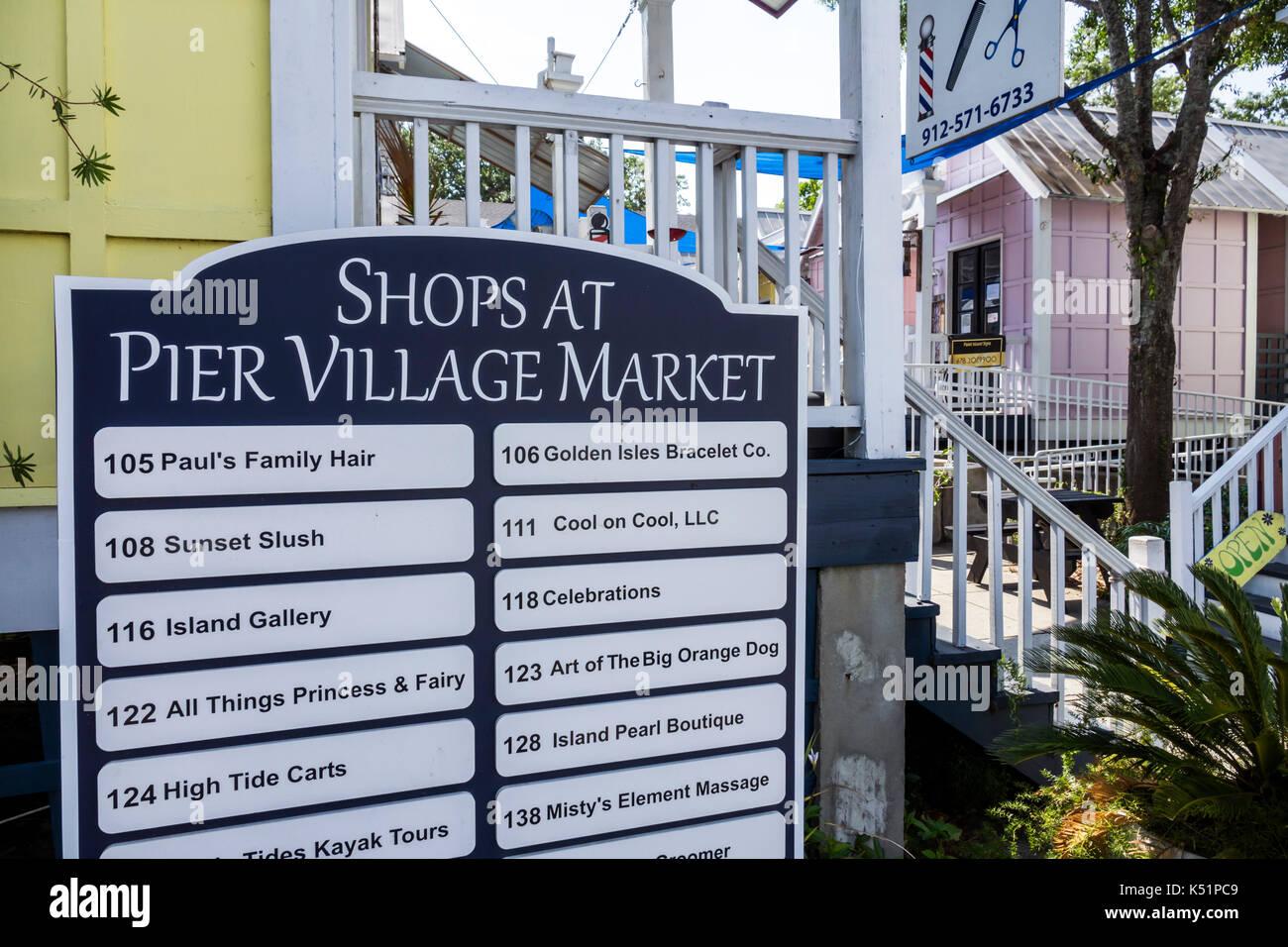 008165559c St. Saint Simons Island Georgia Pier Village District Shops at Pier Village  Market shopping huts quaint