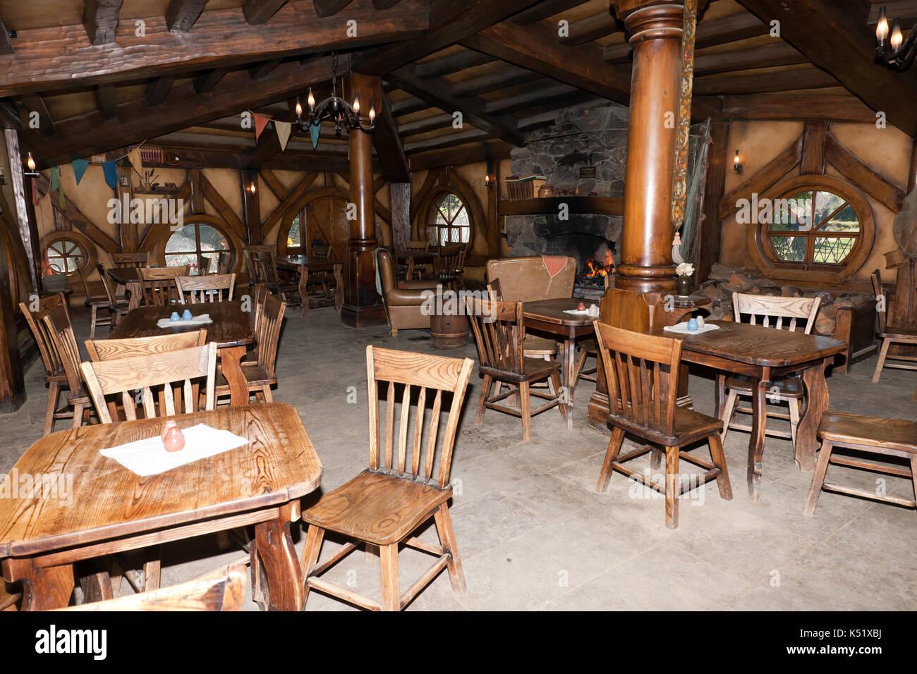 Interior view of the Green Dragon Inn, Hobbiton Movie Set Matamata, Waikato, New Zealand - Stock Image