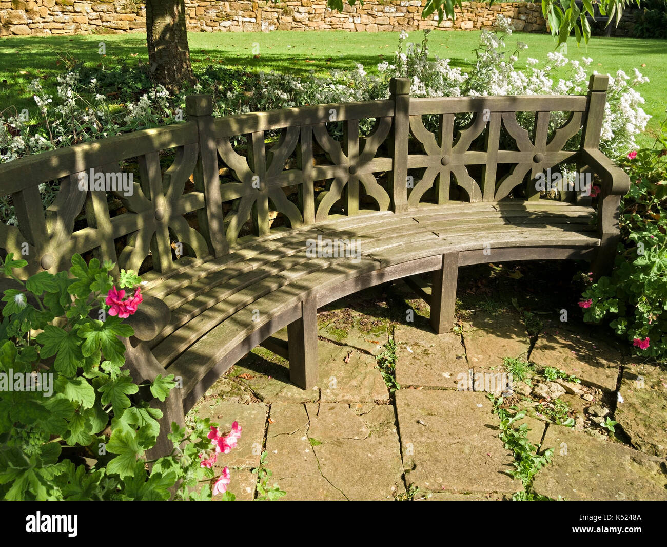 Superb Large Curved Wooden Garden Bench Seat Coton Manor Gardens Gmtry Best Dining Table And Chair Ideas Images Gmtryco