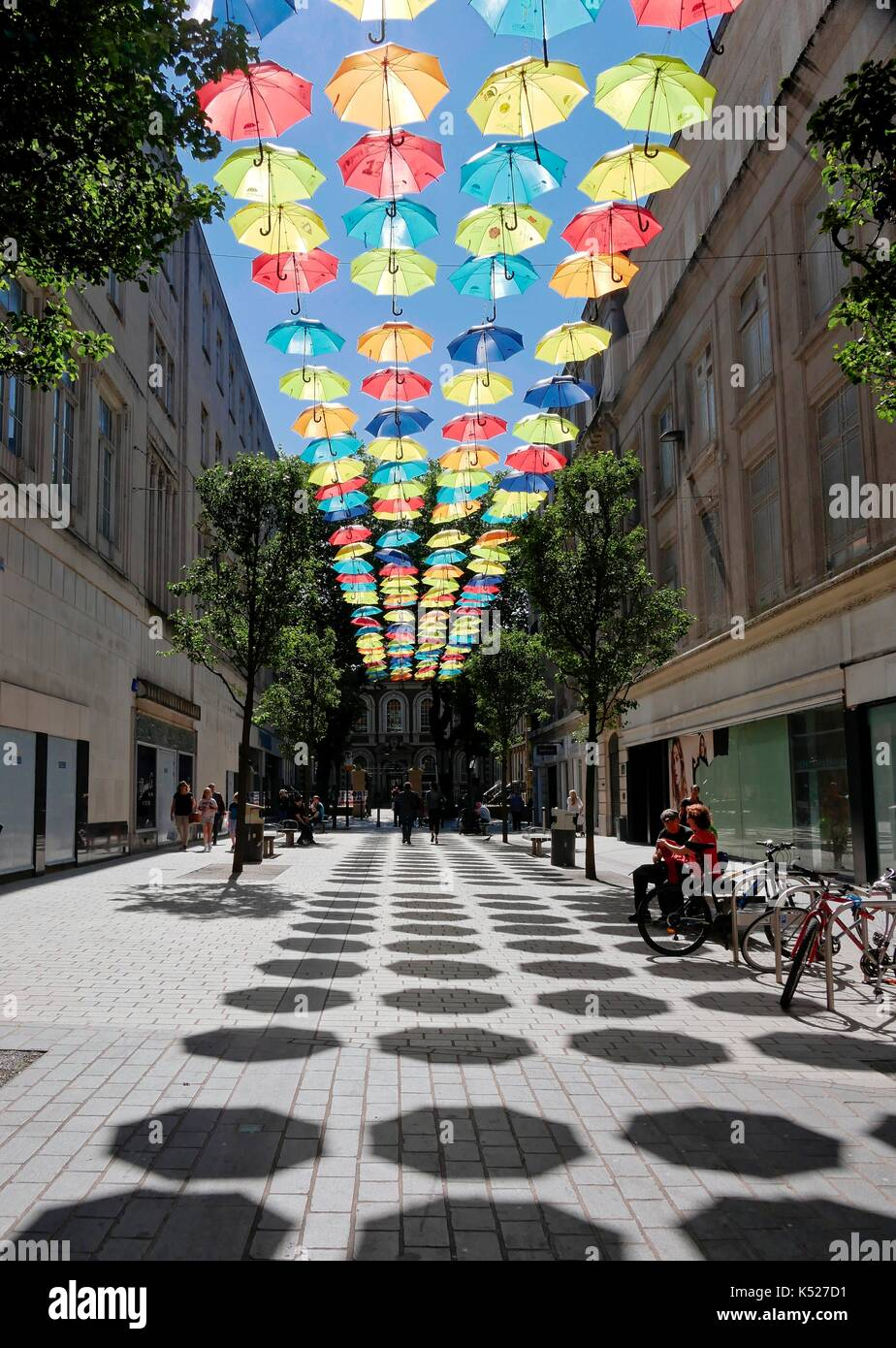 Umbrella Project art installation using 200 colourful brollies in Church Alley, Liverpool. Created to celebrate 10th anniversary of ADHD Foundation. - Stock Image