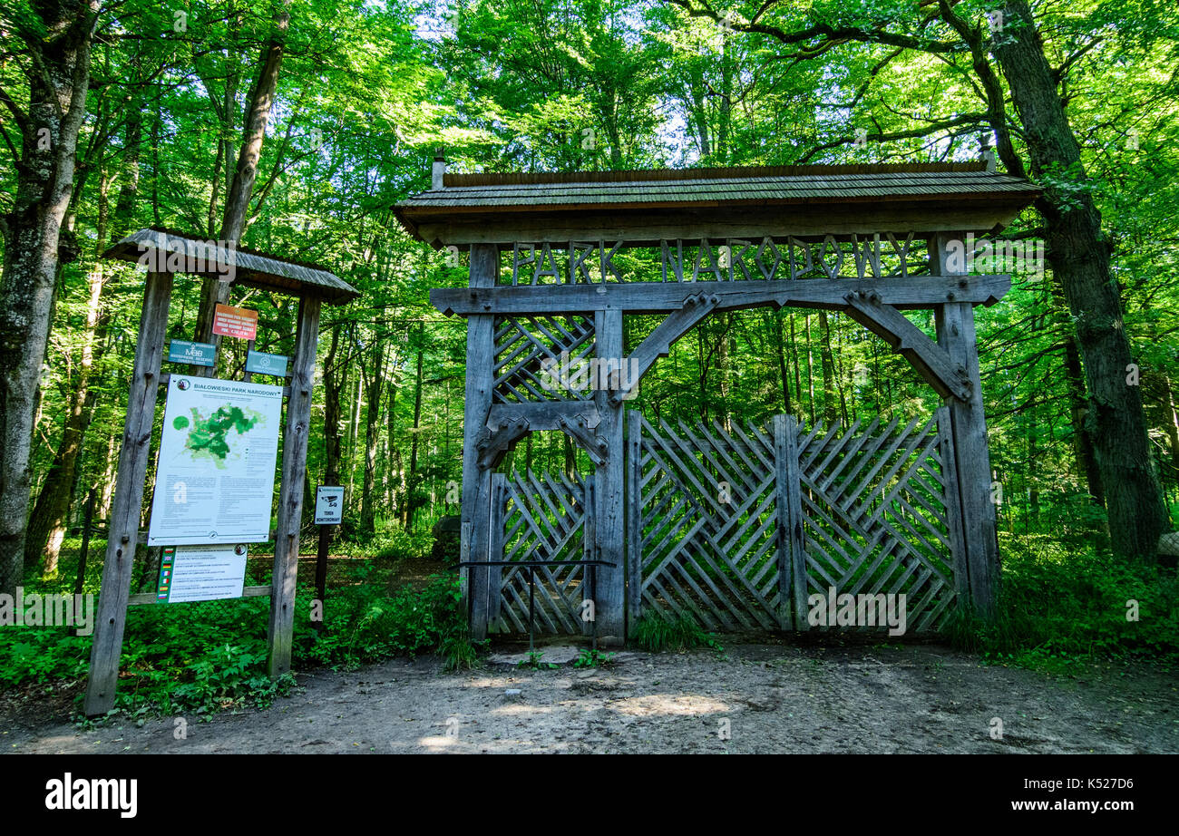The entrance gate to the strictly protected area of Bialowieza National Park, Poland. July, 2017. - Stock Image