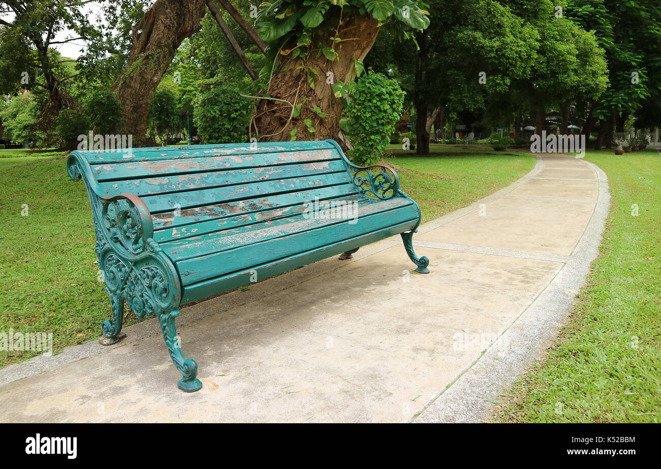 Picture of: Turquoise Blue Colored Wrought Iron Bench In The Public Garden Stock Photo Alamy