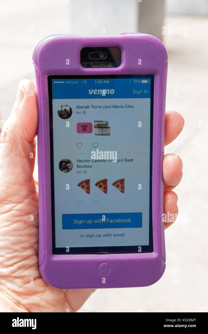 Venmo, a mobile payment service which allows electronic peer