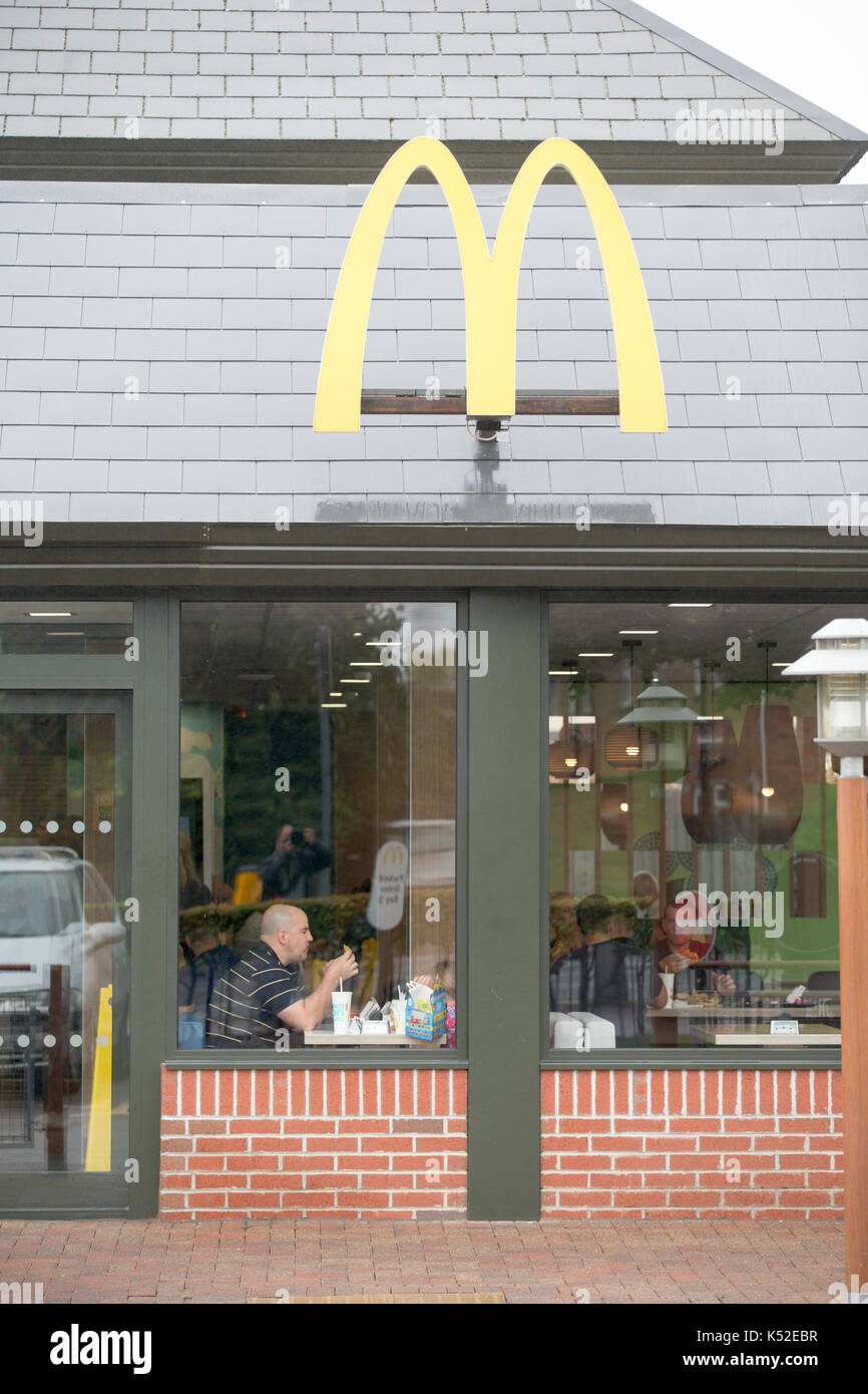 The McDonald's in Cambridge where the staff are holding a strike.However there was no sign of any picket line at lunchtime on Monday September 4th after the strikers left for a meeting in London.The branch was busy and had non striking workers keeping the restaurant  open.   McDonald's workers are staging their first UK strike after walking out at two stores in a dispute over zero-hours contracts and conditions. Workers at Cambridge and Crayford, south-east London, began the 24-hour action at midnight. A union called it a 'brave' move by low-paid staff. - Stock Image