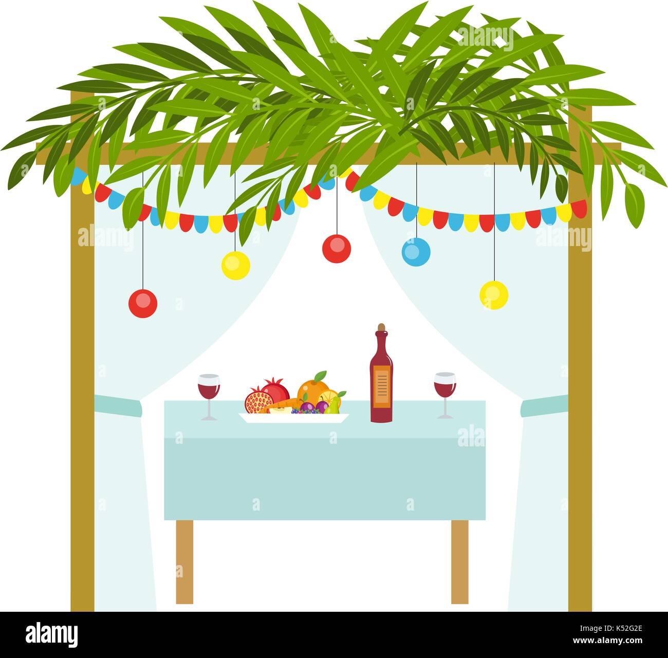 Sukkah for the Sukkot holiday. Jewish tent to celebrate. Isolated on white background. Vector illustration. - Stock Image