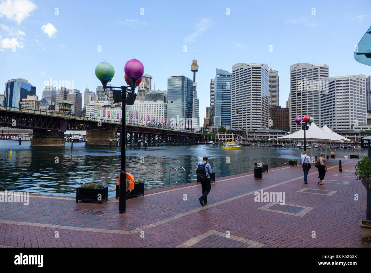 Cockle Bay And Cockle Bay Wharf At Darling Harbour With The Pyrmont Bridge At Christmas 2016  Sydney Australia - Stock Image