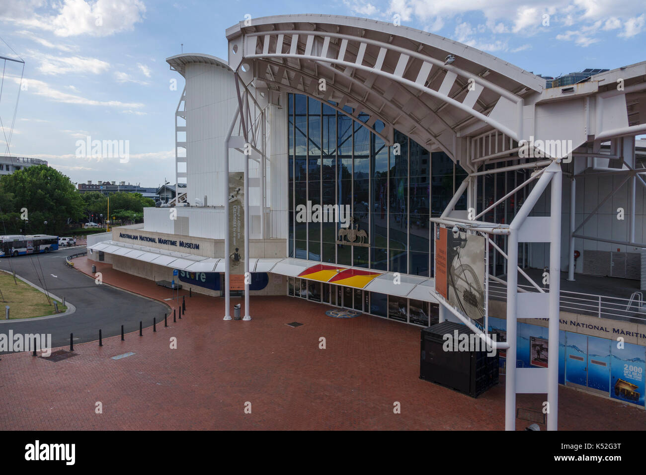 Front Entrance To The Australian National Maritime Museum At Darling Harbour Sydney Australia - Stock Image