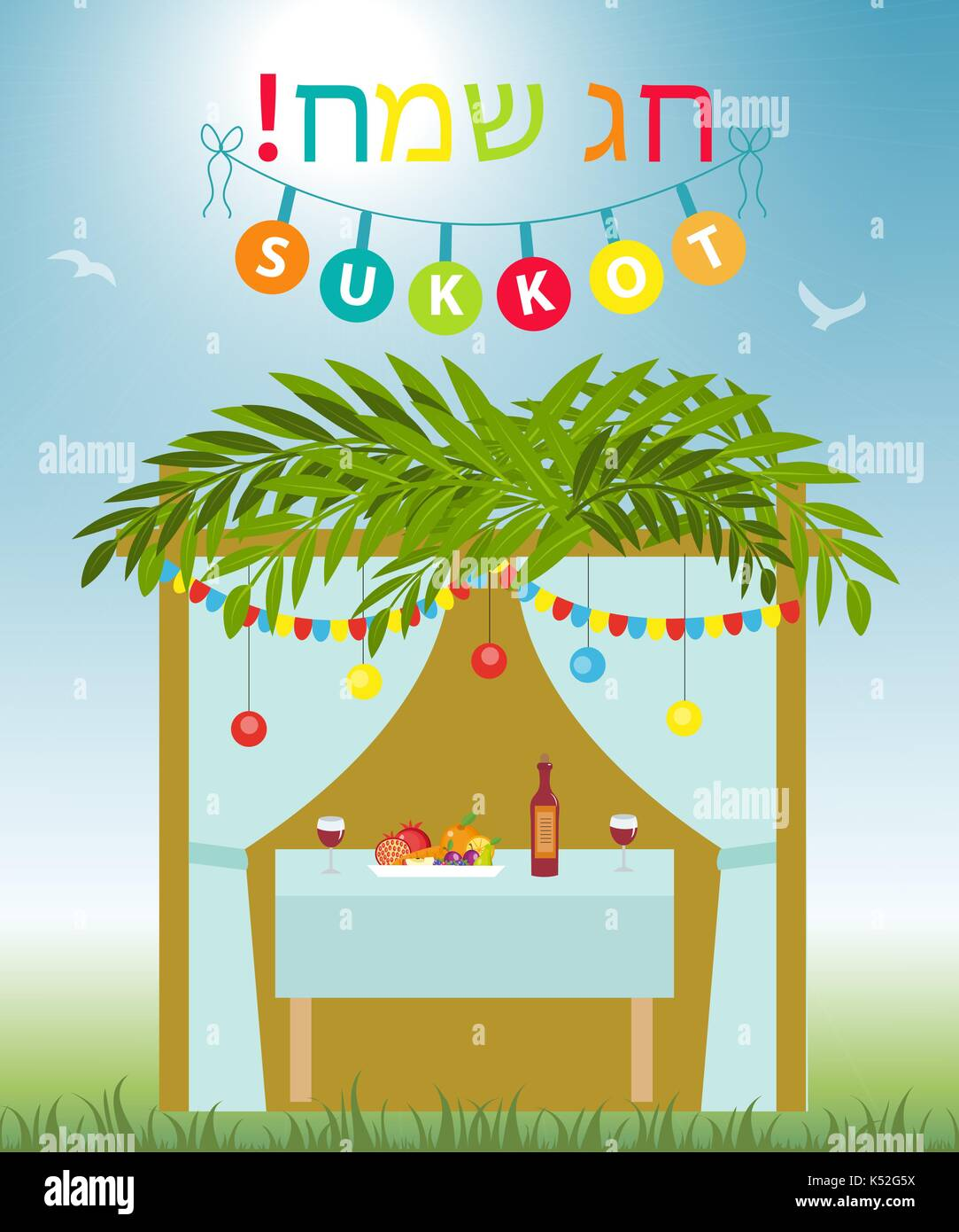 Greeting card happy sukkot with sukkah template for a poster flyer greeting card happy sukkot with sukkah template for a poster flyer isolated on white background vector illustration m4hsunfo