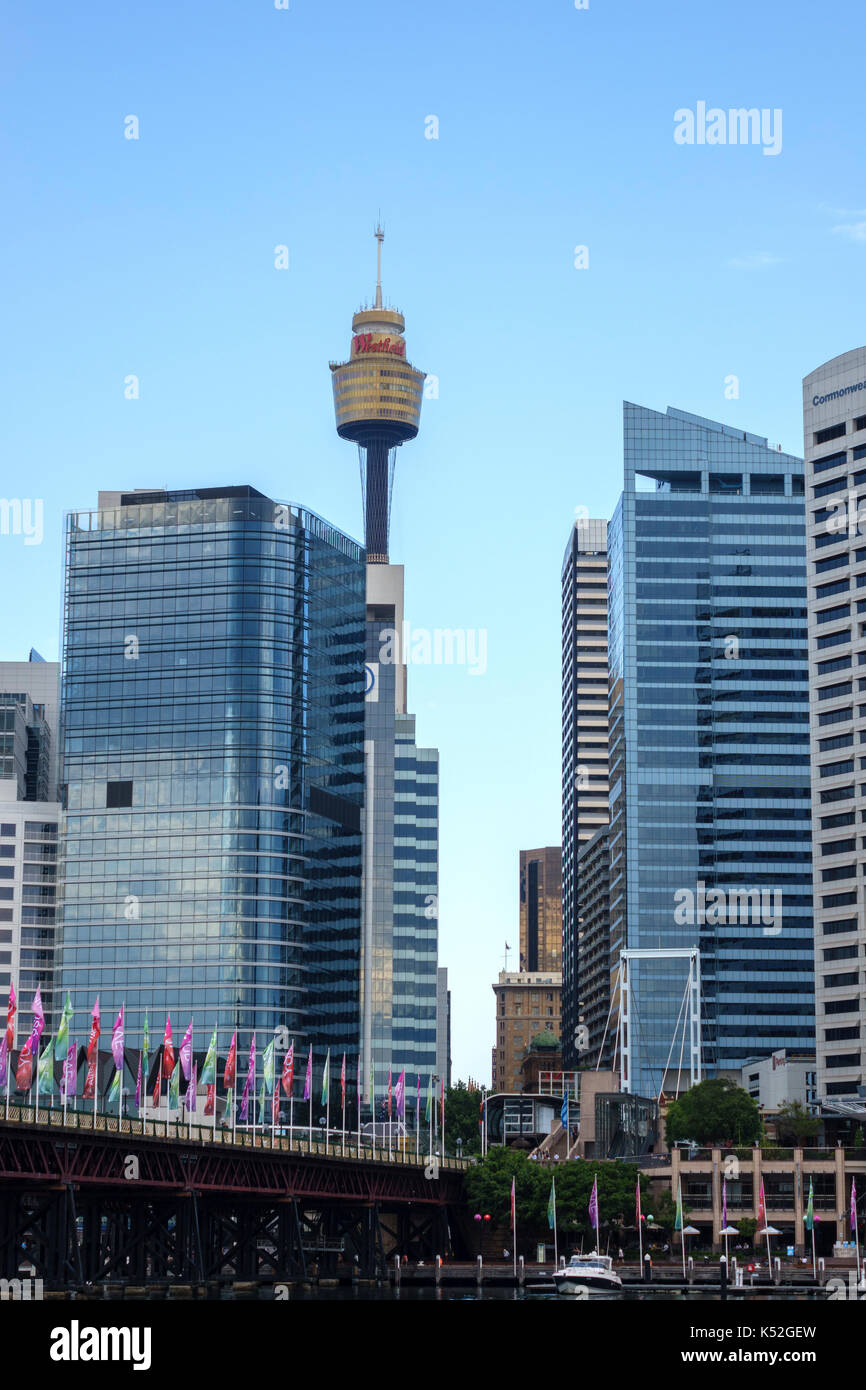 The Sydney Tower Eye At The Westfield Shopping Centre Seen From Cockle Bay Darling Harbour Sydney Australia - Stock Image