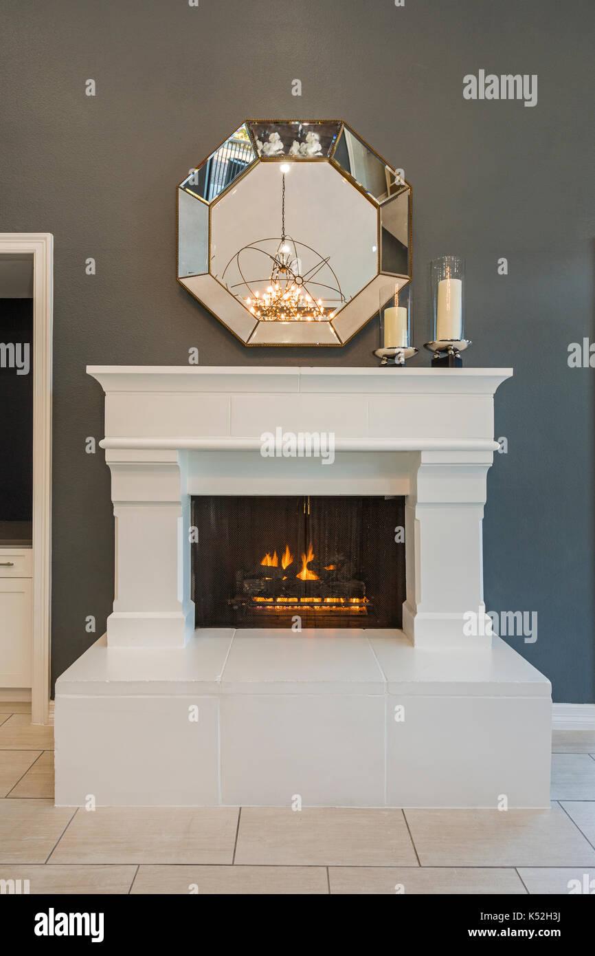 Luxury Fireplace - Stock Image