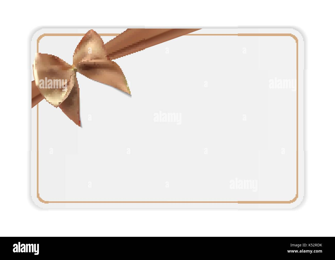 Blank Gift Card Template With Bow And Ribbon Vector Illustration - Blank gift card template