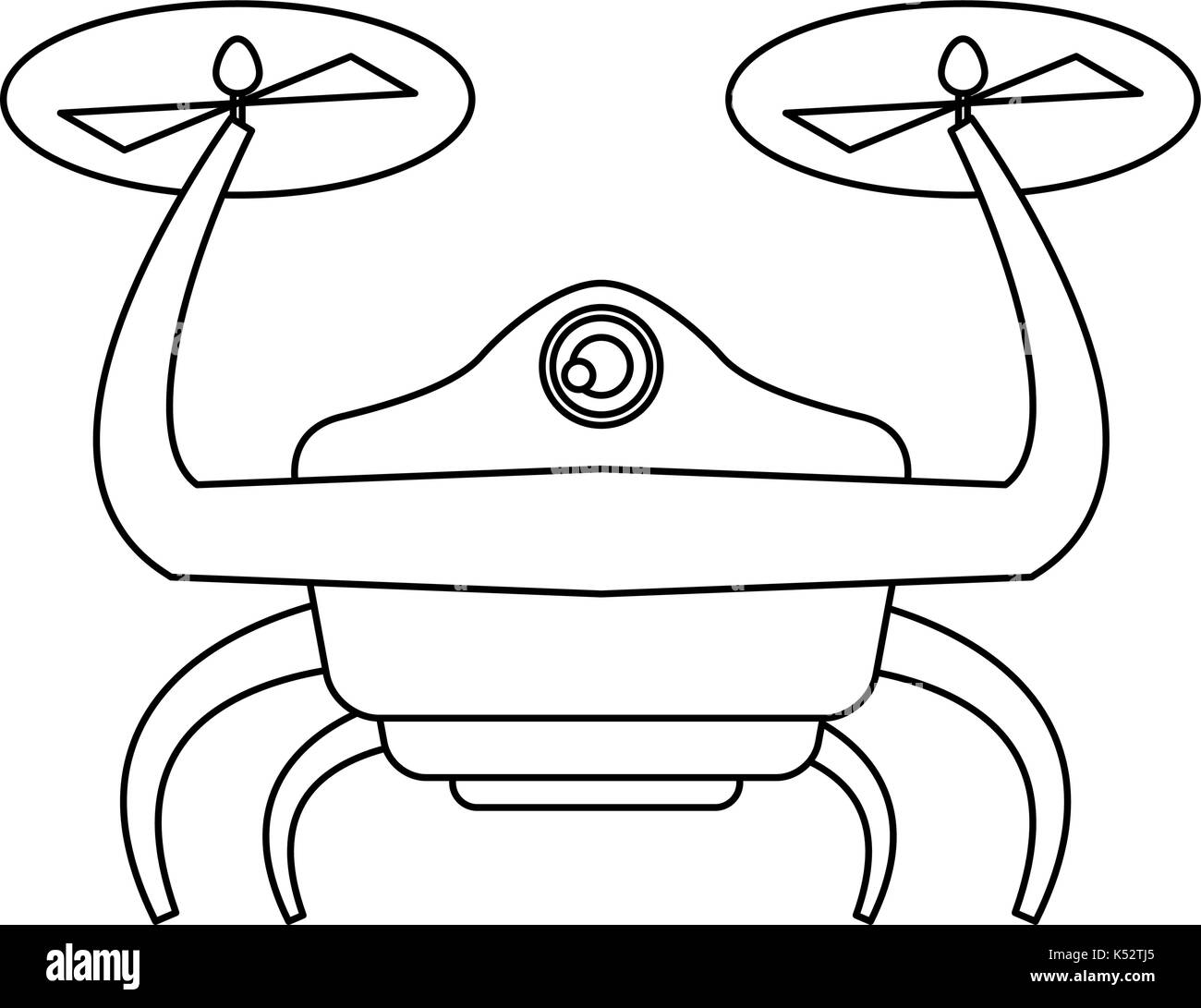 drone with action camera front view - Stock Image