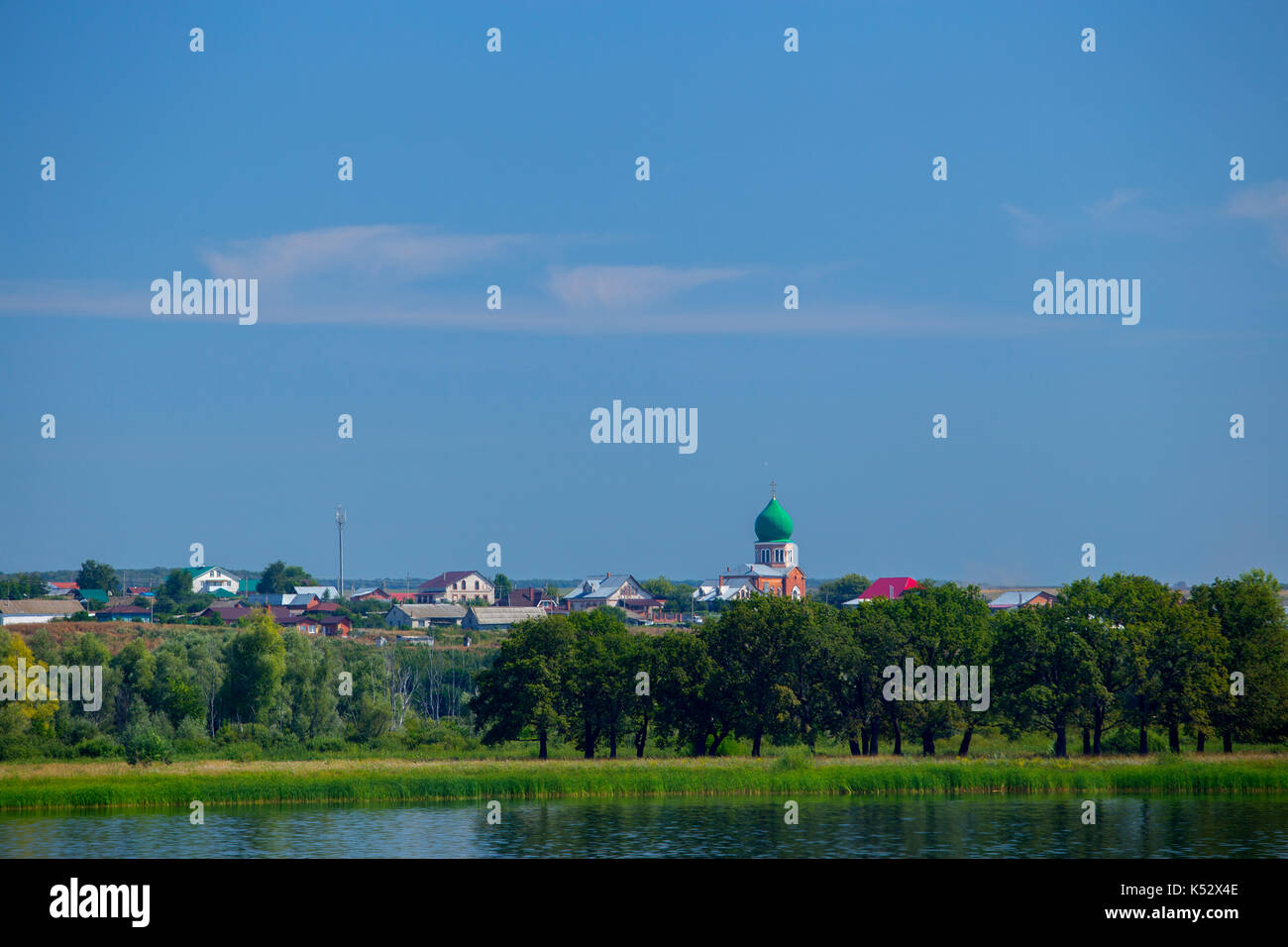 View of church dedicated to St. Cosmas and Damian in Brusyany Stock Photo