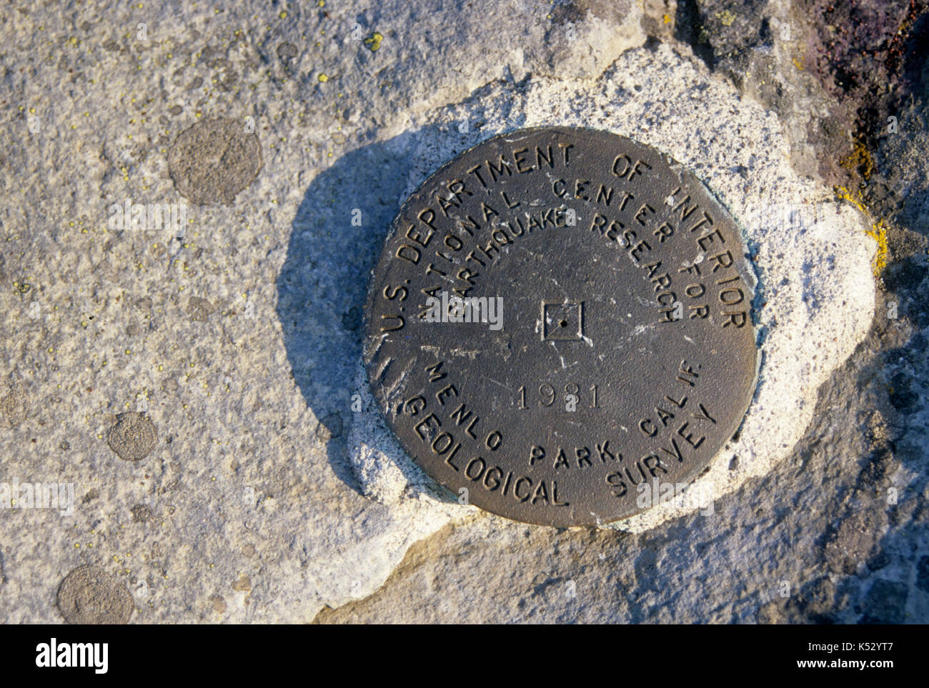 Chinidere Mountain survey marker, Mark O Hatfield Wilderness, Mt Hood National Forest, Oregon - Stock Image