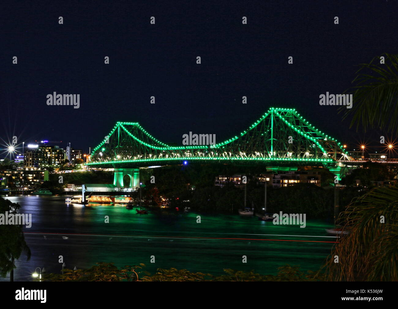 Night view of the Story Bridge across the Brisbane River, Brisbane, Queensland, Australia - Stock Image