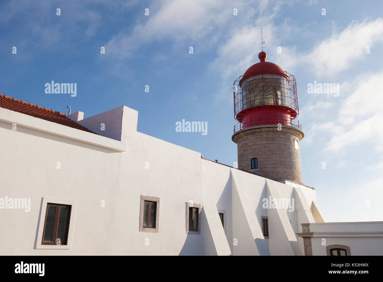 Cape St. Vincent, Portugal: Cape St. Vincent Lighthouse at sunset. The cape is the southwestern most point in Portugal Stock Photo