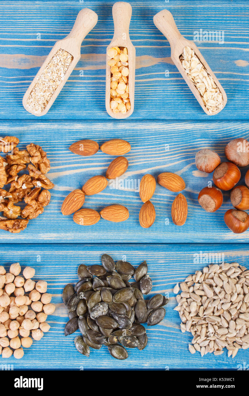 Inscription Zn, ingredients or products containing zinc and dietary fiber, natural sources of minerals, healthy lifestyle and nutrition - Stock Image
